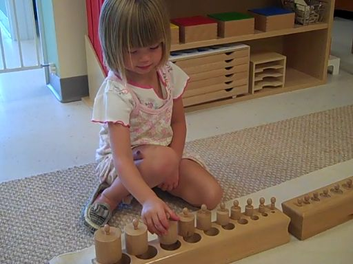 The knobbed cylinders are an important Montessori Sensorial material