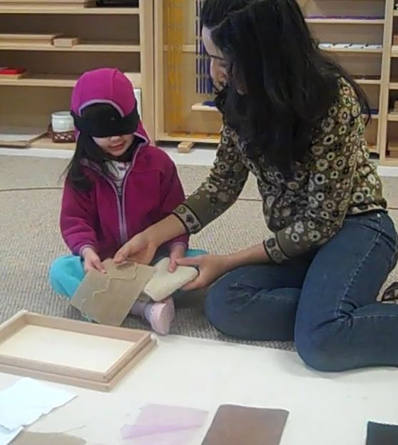 Refining the sense of touch with the Montessori sensorial exercises